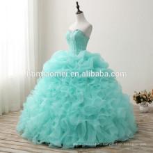 Китай поставщик пользовательские сделал платье без рукавов кичливый свадебное платье 2017 дешевой цене floort длина зеленый цвет корейский стиль свадебное платье