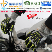 Cut-Resistance und Anti-Impact TPR Handschuhe, 13G Hppe Shell Cut-Level 5, Sandy Nitril Palm beschichtet, Anti-Impact TPR auf Back Mechanic Handschuhe