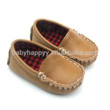 Zapato casual del desgaste del bebé del cuero del browm del niño para los muchachos