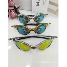 Occhiali da sole colorati in metallo Cat Eye Fashion all'ingrosso