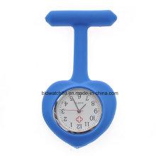 Nurses Blue Heart Shaped Silicone Watch com Japão Quartz Movement