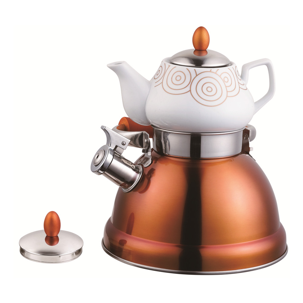 Household Double Tea Pot Rose Gold Serious