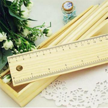 barato caja de lápices de madera logotipo personalizado con regla