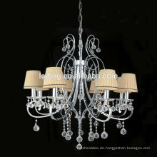 Europäische Kerze Gusseisen Kronleuchter Lampe mit Stoff Lampenschirm