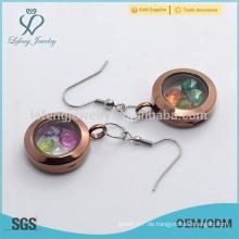 Edelstahl Schokolade Ebene hängende Medaillons Ohrringe für Damen Großhandelspreis