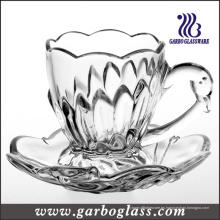 Taza y platillo de vidrio en relieve de 165 ml