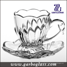 Gobelet et soucoupe en verre gaufré de 165 ml