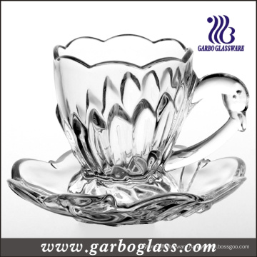 165ml Embossed Glass Cup and Saucer