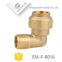 EM-F-B056 Diferente diâmetro latão masculino rosca de compressão cotovelo encaixe de tubulação espanha