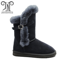 Winter Wool Lined leather Buckle Strap Fur boots
