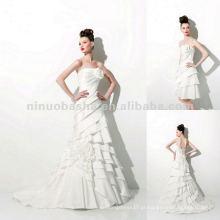 NY-1958 Cetim de seda com vestido de casamento de saia destacada