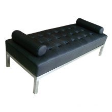 Black Bench for Hotel Furniture with Stainless Steel Leg