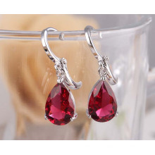 Cubic Zirconia Crystal Diamond Stud Dangle Zircon Silver Earrings