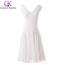 2015 Nuevo estilo V-cuello longitud de la rodilla blanca A línea de vestido de fiesta corto CL6059