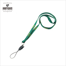 10mm Thick Green Pantone Neck Strap Lanyards with Metal Ring, Mobile Clip