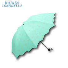 Stock vente moderne à la mode fleur impression personnaliser qualité femmes promotionnel vers le bas 3 parapluie pliant avec des impressions de logo