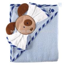 Детские тканые с капюшоном полотенце с мочалкой, синий собака,100% хлопок