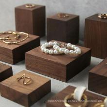 Sistemas de soporte de exhibición de anillo de madera personalizados de lujo