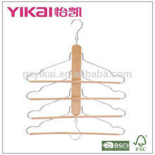 Space saving trousers pants wooden hanger with 4tiers of round bar and two hooks