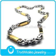 TKB-JN0046 Promocional fashional dois tons de metal com forma de retângulo de ouro em aço inoxidável colar