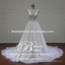 романтический V-образным вырезом и V-обратно свадебное платье китайский популярные оптовые свадебное платье