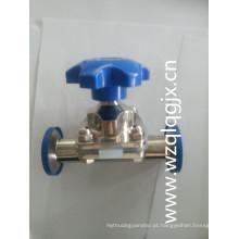 Válvula sanitária de diafragma bidirecional de aço inoxidável