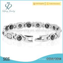 Pulsera de plata de venta superior, pulseras pesadas de acero inoxidable, pulsera hecha a mano