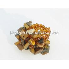 Anillo amarillo de los granos de cristal de la semilla del estiramiento de la piedra del virginal del ojo del tigre