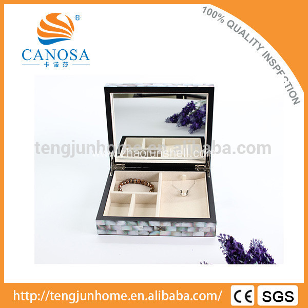 Wholesale black mother of pearl inlaid jewelry box