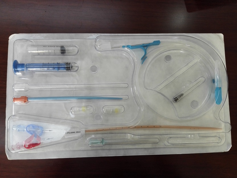Disposable anti-microbial hemodialysis catheter set