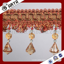 2016 fancy curtain fringe trim for Curtain decoration and lamp decoration