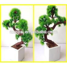 Hermosa Artificial Mini Bonsai Pots Saludo Pino para el hogar y la decoración del hotel