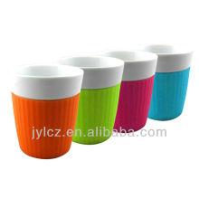 Tasses promotionnelles expresso 100cc avec manchon en silicone