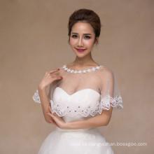 Las mujeres wedding el cordón blanco bonito nupcial del vestido de boda appliques el chal blanco del cordón