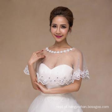 Mulheres casamento bridal lindamente branco vestido de noiva appliques de renda branco xale de renda