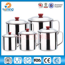 tasse à eau en acier inoxydable avec couvercle / poignée / couvercle