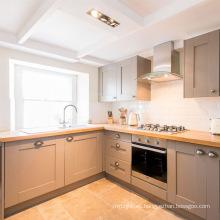Gabinete de cocina modular de madera maciza de coctelera gris