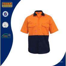100 % coton bicolore Mens Short Sleeve Shirt chemise de travail