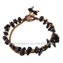 Moda Latão Beads Natural Onyx pedras Bracelete Vners SB-0023