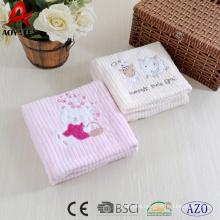 100% polyester coral fleece cute baby blanket with edge