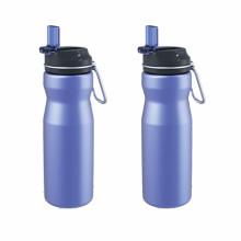 Garrafa de água desportiva de aço inoxidável de alta qualidade com tampa de palha