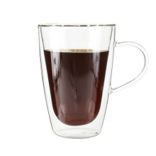 Taza de café al por mayor del café express del vidrio de Borosilicate con la manija 350ml