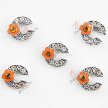 Flower Metal Orange C Letter Charms (JP08)