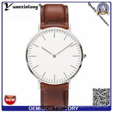 Yxl-649 Einfache Entwurfs-Edelstahl-Kasten-dünner Geschäftsmann-Uhr-wasserdichte Leaether-Band-Uhr