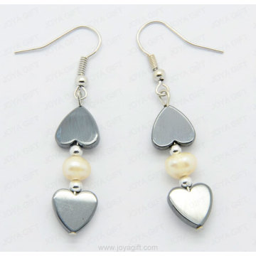 Fashion hematite heart earring