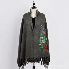 2017 nouvelle mode pashmina shalw écharpe de couleur pure avec écharpe de cachemire motif fwolers brodé
