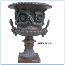 Indoor Decorative Antique Large Flowers Bronze Vase Sculpture