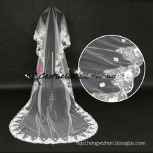 China supplier wholesale Bridal veils tulle fabric 3M long Embroidery wedding veil