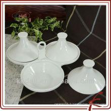 Service en céramique durable avec plateau en bambou