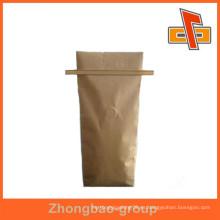 Fabricante de porcelana resellable impresión lateral gusset kraft bolsa de valor de papel con lazo de estaño para el café y otros envases de alimentos